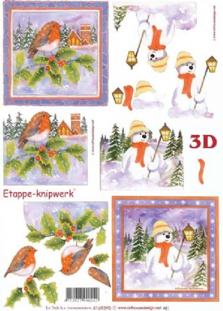 Christmas Robins & Snowman Designs 3d Decoupage Sheet from Le Suh